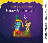 krishna is playing flute and... | Shutterstock .eps vector #1820712791