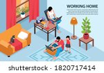 isometric working home... | Shutterstock .eps vector #1820717414