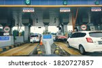cars passing through the toll...   Shutterstock . vector #1820727857