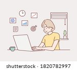 creative worker using digital... | Shutterstock .eps vector #1820782997
