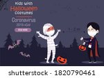 kids costumes with medical mask ... | Shutterstock .eps vector #1820790461