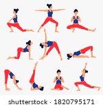 various yoga poses set. female... | Shutterstock .eps vector #1820795171