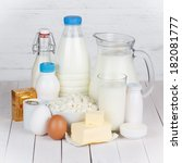 dairy products on white wooden... | Shutterstock . vector #182081777