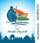 vector illustration of gandhi...   Shutterstock .eps vector #1820850767
