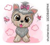 cute cartoon dog yorkshire... | Shutterstock .eps vector #1820868944