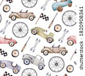 Watercolor Pattern With Retro...