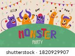 cute kids banner with monsters... | Shutterstock .eps vector #1820929907