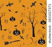 halloween element set. cute... | Shutterstock . vector #1821027371