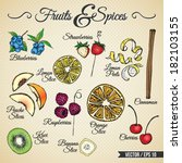 fruits and spices drawings set... | Shutterstock .eps vector #182103155