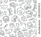 seamless pattern with pets.... | Shutterstock .eps vector #1821032411