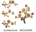 fall owls on branches | Shutterstock .eps vector #182103689
