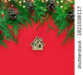 christmas wooden toy house on... | Shutterstock . vector #1821038117