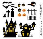 Set Object Of Halloween Vector...