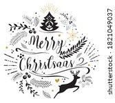beautiful ornate merry... | Shutterstock .eps vector #1821049037