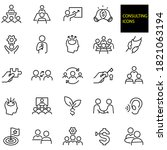 consulting thin line icons ... | Shutterstock .eps vector #1821063194