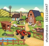 cartoon farm with animals and...   Shutterstock .eps vector #1821110447