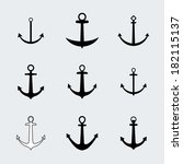 set anchors icons. vector.  | Shutterstock .eps vector #182115137