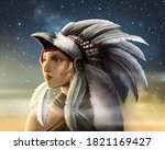 Indian Girl With White Feather...