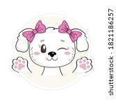 cute puppy sticker. funny baby...   Shutterstock .eps vector #1821186257