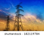 high voltage post. | Shutterstock . vector #182119784
