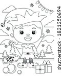coloring pages with christmas... | Shutterstock .eps vector #1821250694