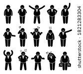 fat boss or wealthy employer... | Shutterstock .eps vector #1821283304