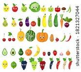 set of fruits  vegetables ... | Shutterstock .eps vector #1821327044