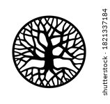 Vector Black Round Tree With...