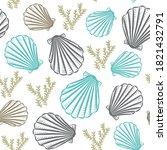 seashell hand drawn seamless... | Shutterstock .eps vector #1821432791