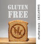 Small photo of Bread slice marked with gluten free stamp