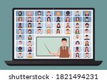 online class. students studying ... | Shutterstock .eps vector #1821494231