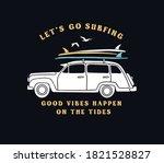 surfing car illustration.... | Shutterstock .eps vector #1821528827