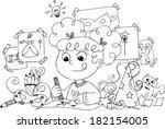 girl preparing princess... | Shutterstock .eps vector #182154005