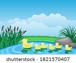 Illustration With Cute Ducks...