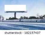 big white billboard on highway. | Shutterstock . vector #182157437