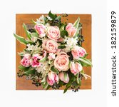 a bouquet of pink roses and... | Shutterstock . vector #182159879