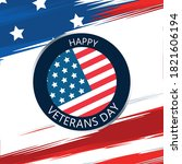 happy veterans day lettering in ... | Shutterstock .eps vector #1821606194