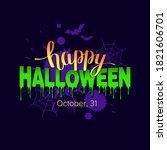 happy halloween text banner... | Shutterstock .eps vector #1821606701