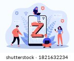 tiny people messaging online... | Shutterstock .eps vector #1821632234