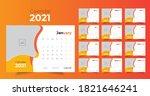 calendar for 2021. the week... | Shutterstock .eps vector #1821646241