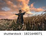 Scary Scarecrow In A Hat On A...