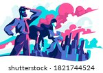 business people looking into... | Shutterstock .eps vector #1821744524
