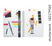 businessman printed on notebook ... | Shutterstock .eps vector #182179565
