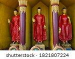 Buddhist Statues In Golden...