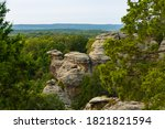 Small photo of The Garden of the Gods bluffs in the late afternoon light. Shawnee National Forest, Illinois, USA