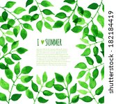 watercolor green leaves... | Shutterstock .eps vector #182184419
