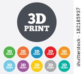 3d print sign icon. 3d printing ... | Shutterstock . vector #182185937