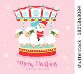 christmas holidays carousel... | Shutterstock .eps vector #1821863084