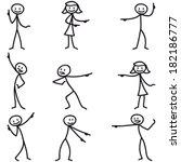 set of vector stick figures ... | Shutterstock .eps vector #182186777