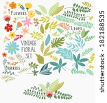 hand drawn vintage floral... | Shutterstock .eps vector #182188535
